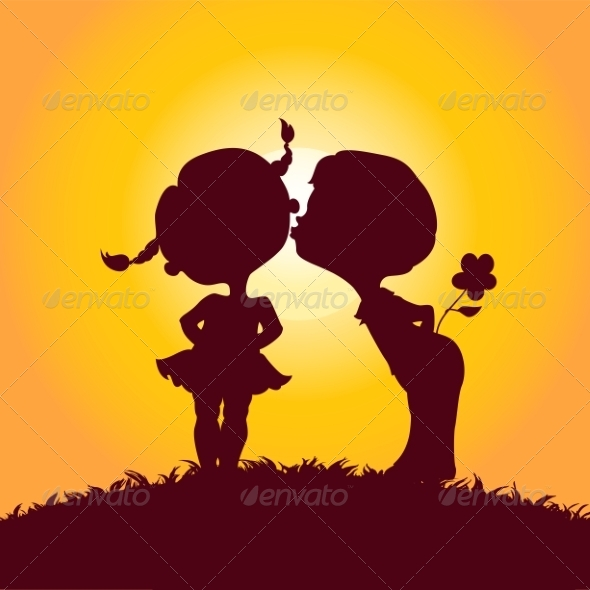 Silhouettes of Kissing Boy and Girl - Valentines Seasons/Holidays