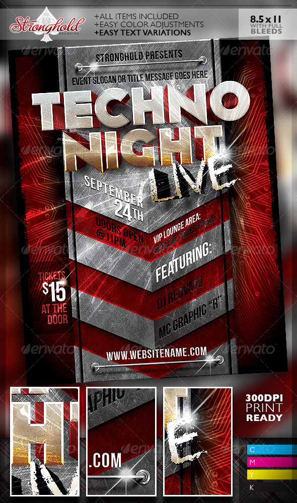 Live Techno Party Event Flyer Template - Clubs & Parties Events