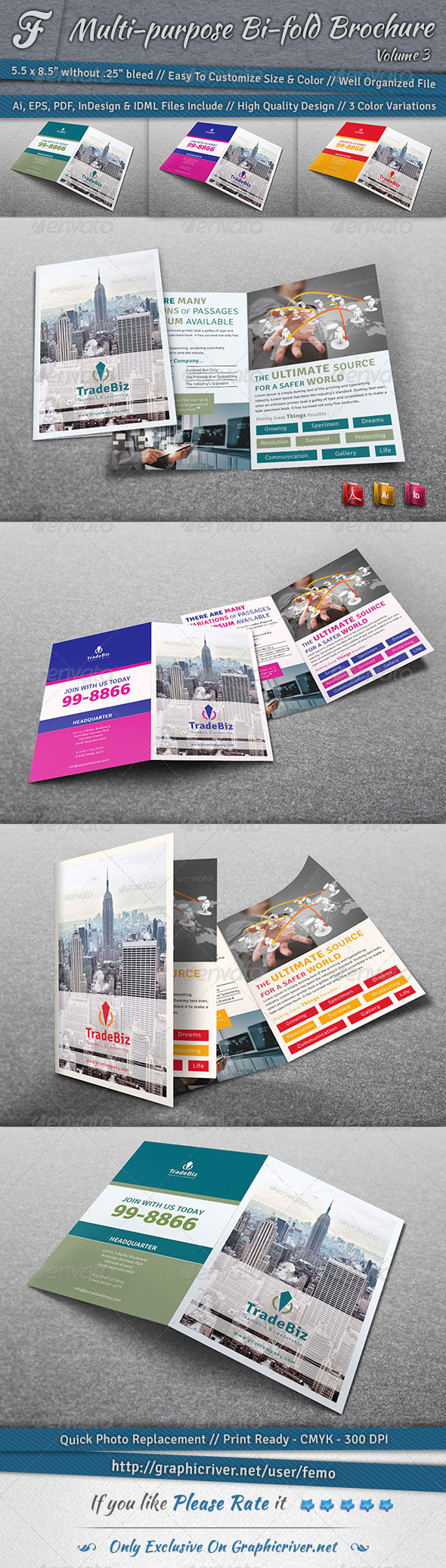 Multi-purpose Bi-fold Brochure | Volume 3 - Corporate Brochures
