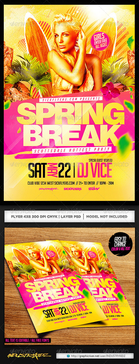 Spring Break Flyer Template PSD - Clubs & Parties Events
