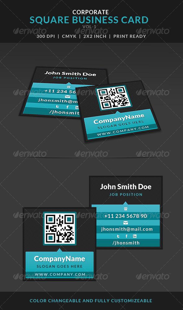 Creative Corporate Square Business Card Vol-1 - Corporate Business Cards