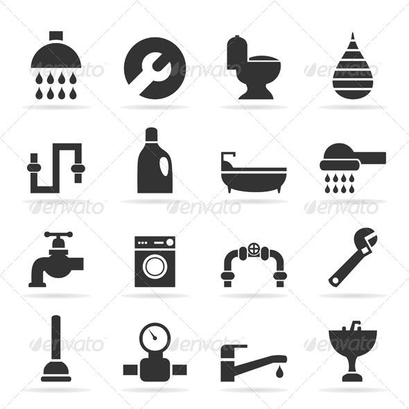 Icons Sanitary Technicians - Miscellaneous Vectors