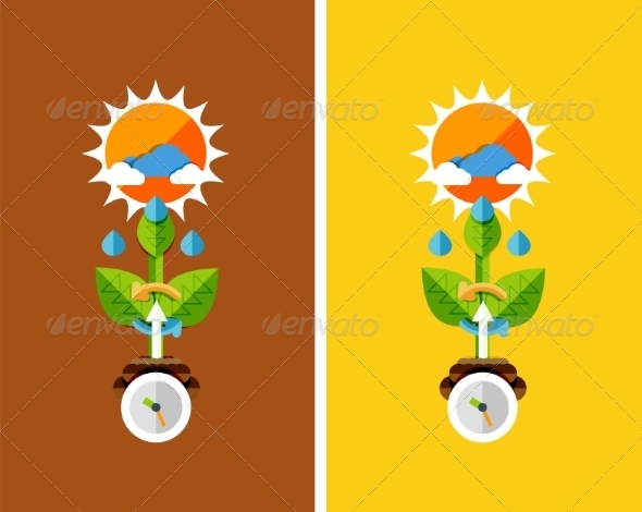Flat Design Nature Concept - Plant Growth - Organic Objects Objects