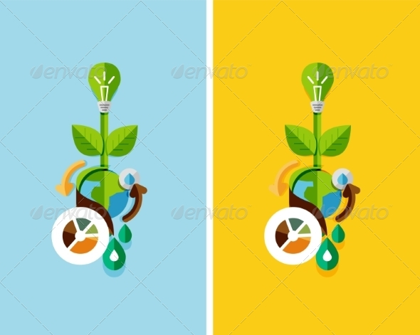 Flat Design Nature Concept: Green Energy - Organic Objects Objects