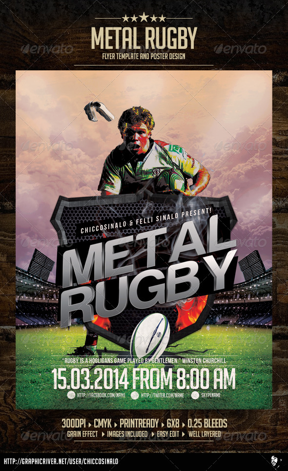 Metal Rugby Flyer Template - Sports Events