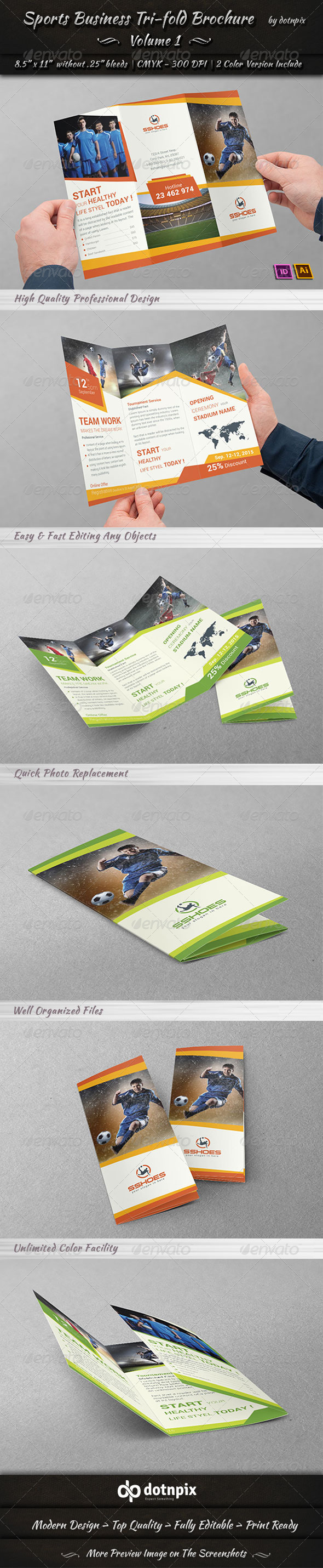 Sports Business TriFold Brochure | Volume 1 - Corporate Brochures