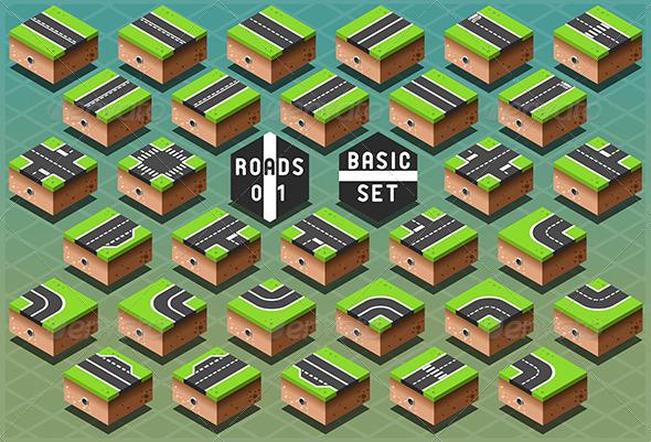 Isometric Roads on Green Terrain - Buildings Objects