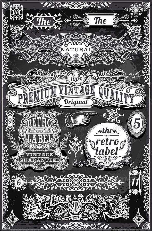 Vintage Hand Drawn Banners and Labels - Decorative Vectors