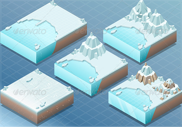 Isometric Arctic Terrain with Iceberg and Mount - Conceptual Vectors