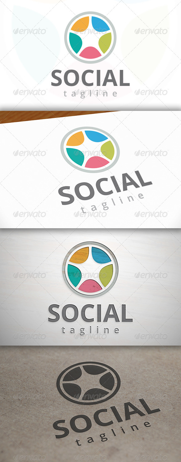 Social Wheel Logo - Vector Abstract