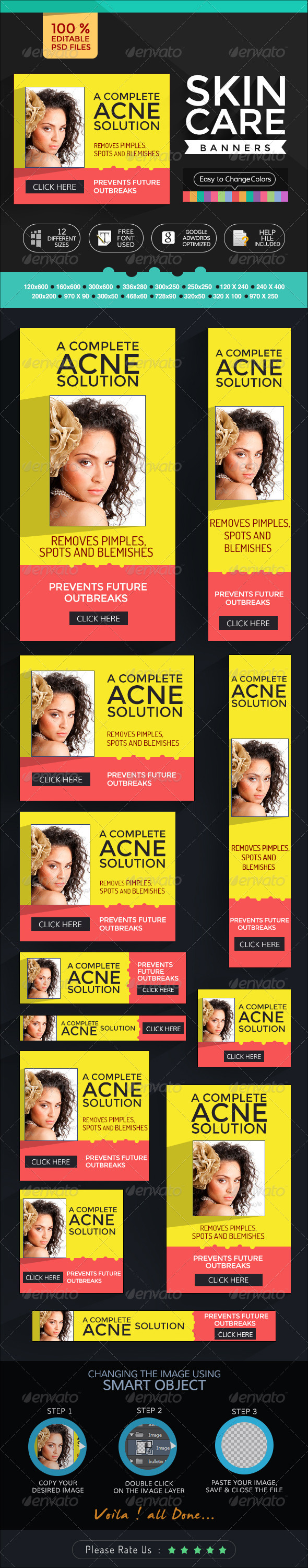 Banners for Skin Care Products - Banners & Ads Web Elements