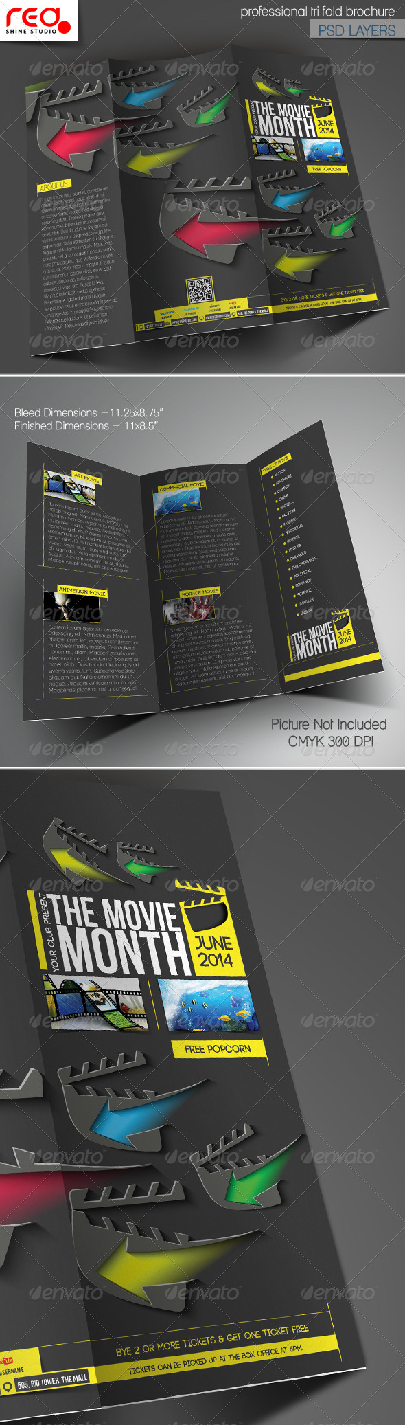 The Movie Month Trifold Brochure Template  - Corporate Brochures