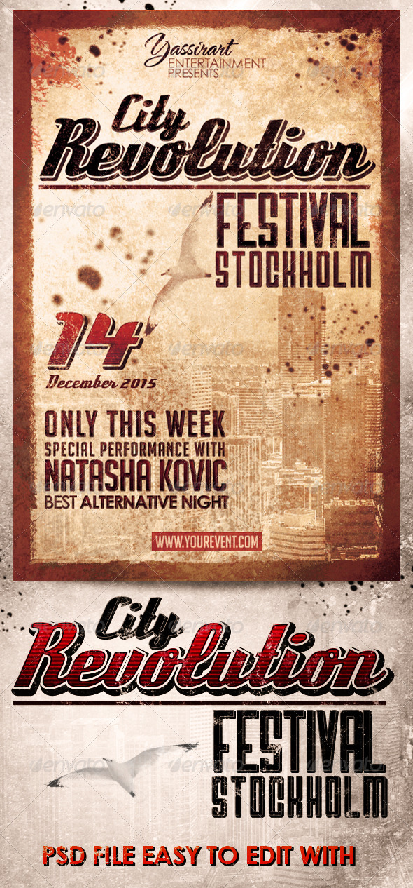 City Revolution Festival Flyer Template  - Clubs & Parties Events