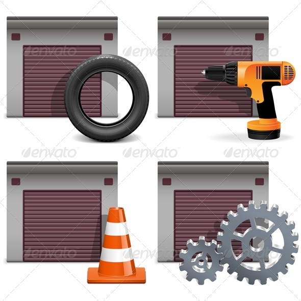 Vector Garage Icons set 2 - Industries Business