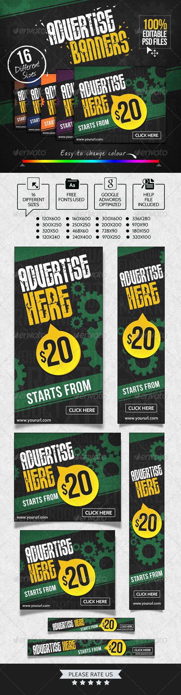 Advertise Here Banner Set - Banners & Ads Web Elements