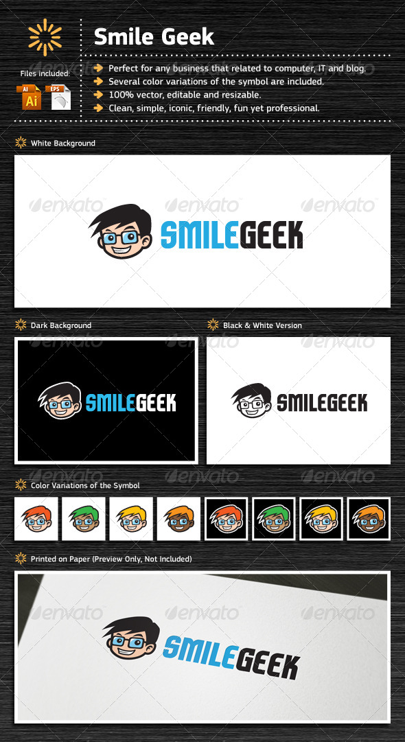 Smile Geek - Humans Logo Templates