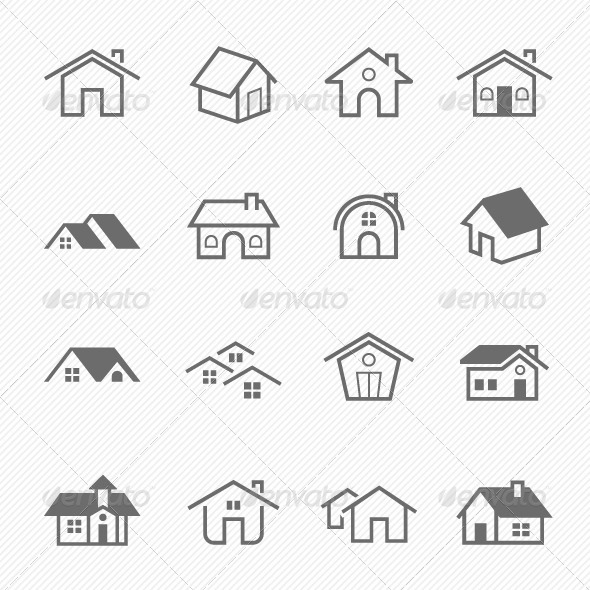 Home Outline Stroke Symbol Vector Icons - Buildings Objects