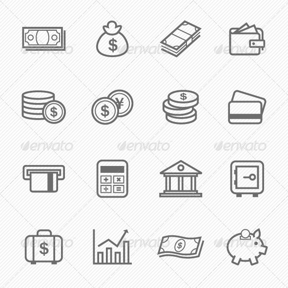 Finance and Money Outline Stroke Symbol Icons - Business Icons