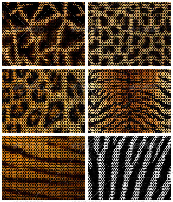 Wild Animal Mosaic Backgrounds - Backgrounds Decorative