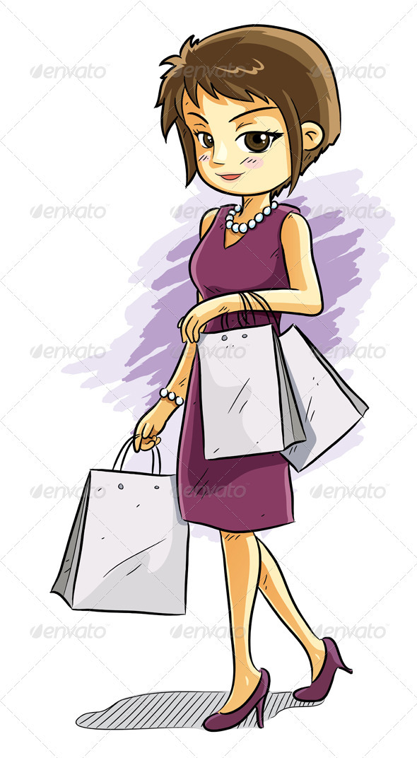 Cartoon Shopping Girl - People Characters