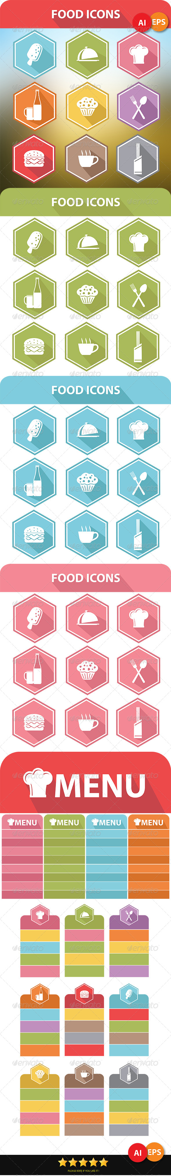 9 Food Icons & Menu Elements - Food Objects