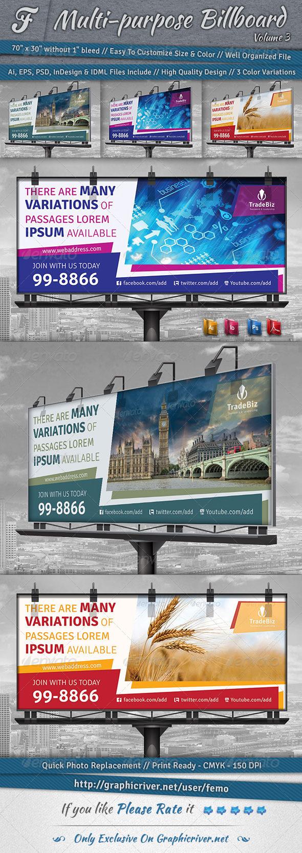 Multi-purpose Billboard   Volume 3 - Signage Print Templates