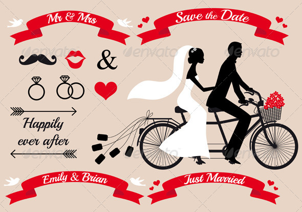 wedding couple on tandem bicycle vector by amourfou graphicriver