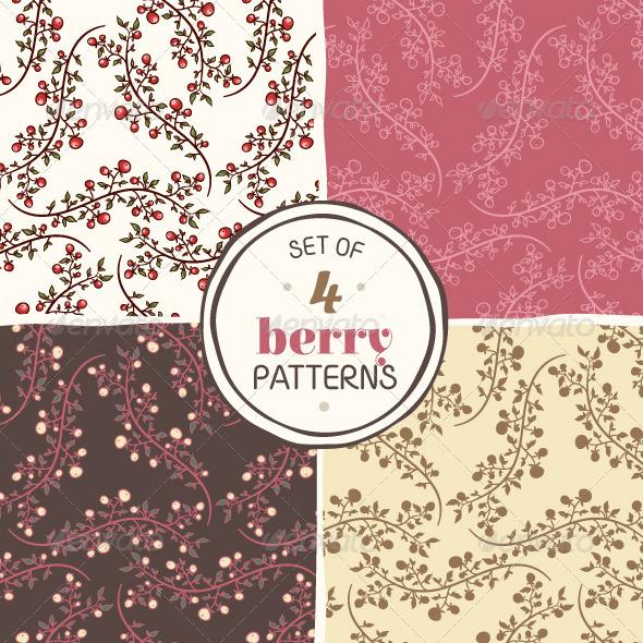 Set of Berry Patterns - Patterns Decorative