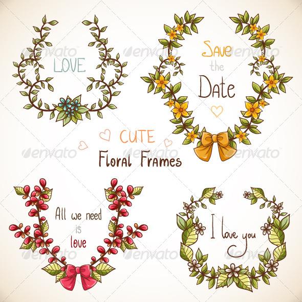 Set of Floral Frames - Patterns Decorative