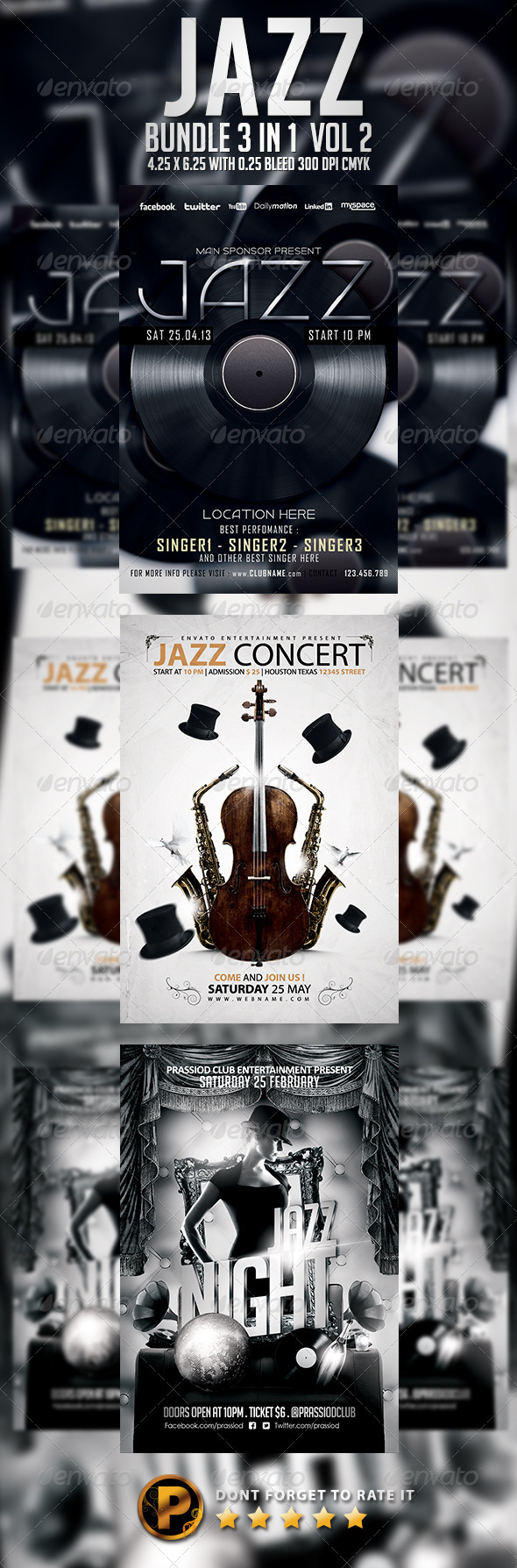 Jazz Flyer Template - Bundle 3 In 1 - Concerts Events