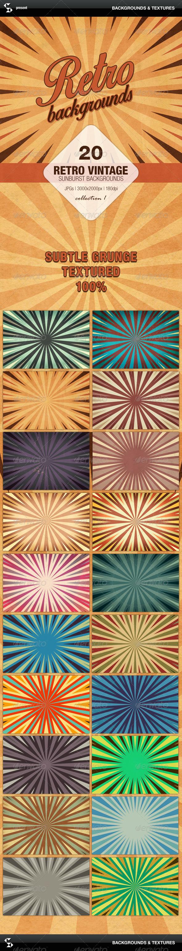 Retro Backgrounds - Vintage Sunburst Collection 1 - Miscellaneous Backgrounds