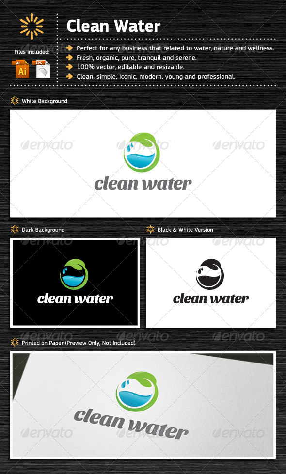 Clean Water - Nature Logo Templates