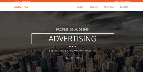 Amazing - One Page Parallax Muse Template - Corporate Muse Templates