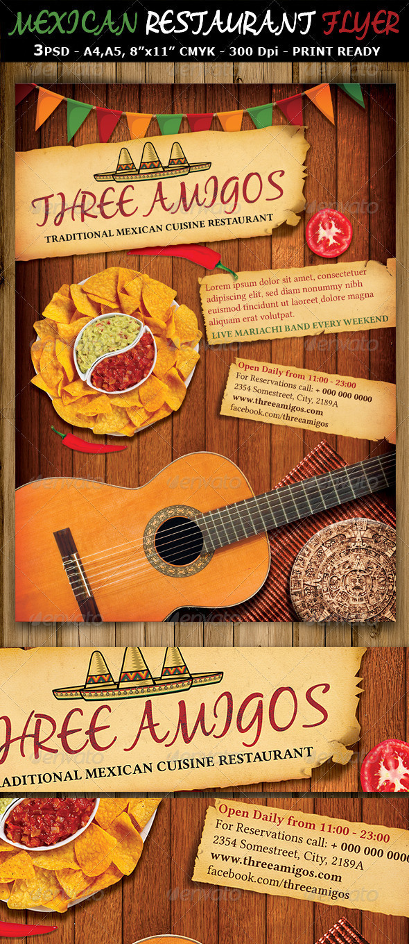 Mexican Restaurant Ad Flyer Template - Restaurant Flyers