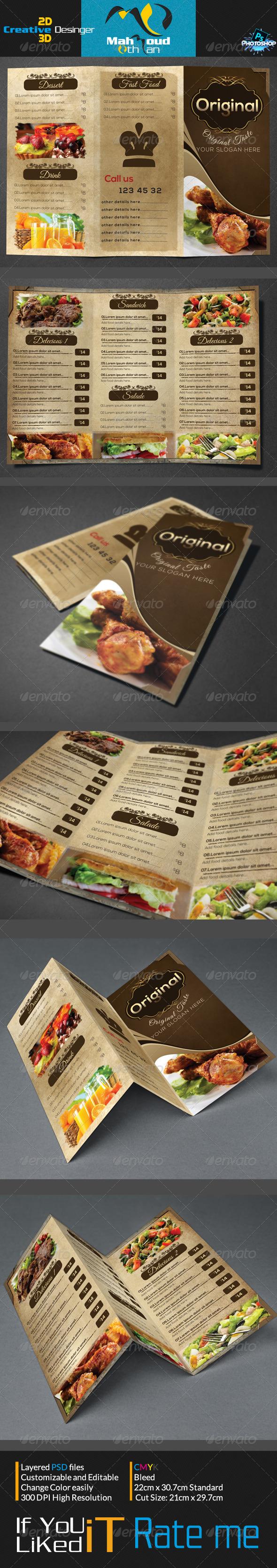 Vintage Trifold Restaurant Menu - Food Menus Print Templates