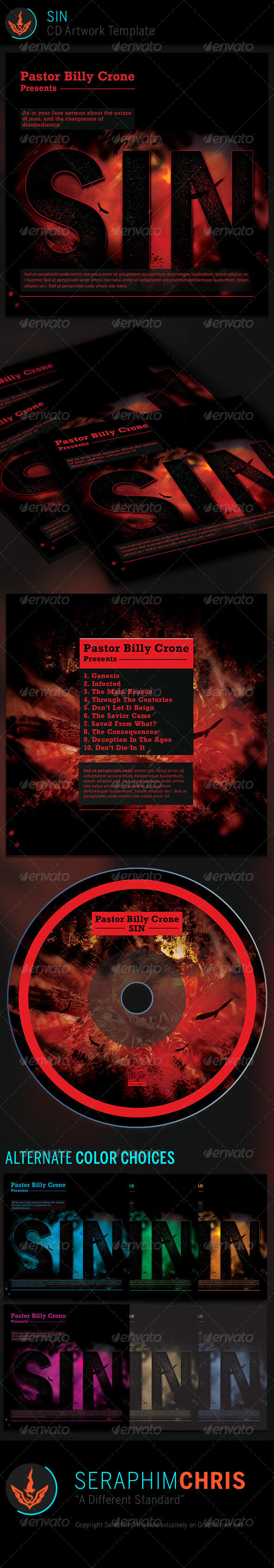 SIN: CD Artwork Template - CD & DVD Artwork Print Templates
