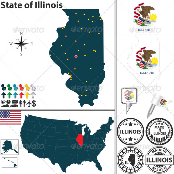 Map of State Illinois, USA - Travel Conceptual