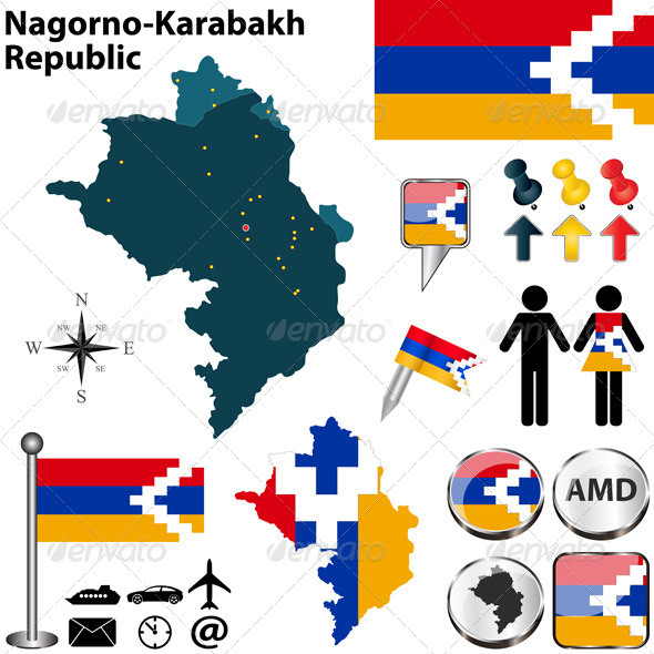 Map of Nagorno-Karabakh Republic - Travel Conceptual