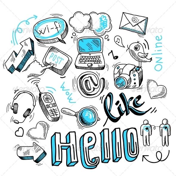 Social Media Doodles - Web Technology