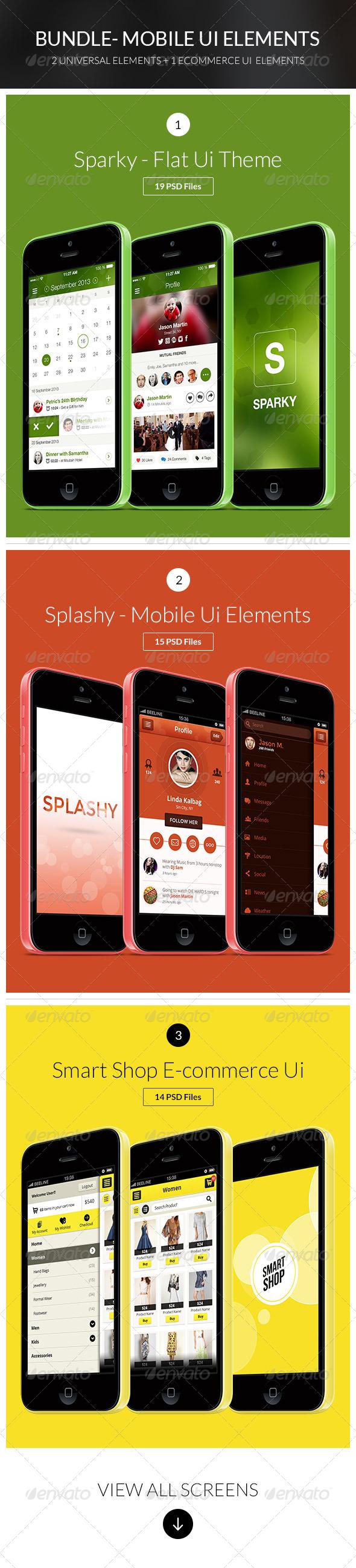 Bundle - 3 Flat App Mobile Ui set  - User Interfaces Web Elements