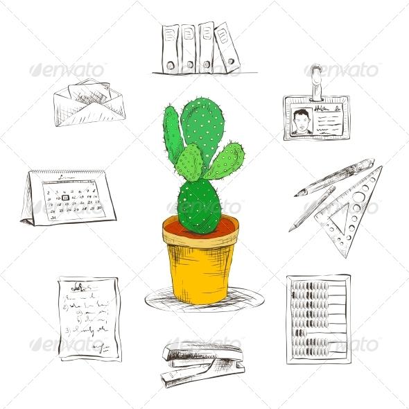 Stationary Supplies - Web Elements Vectors