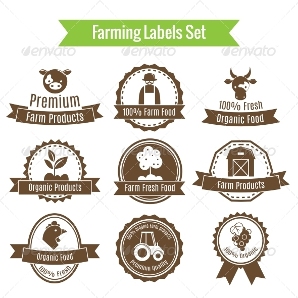 Farming Harvesting and Agriculture Badges or Label - Web Elements Vectors