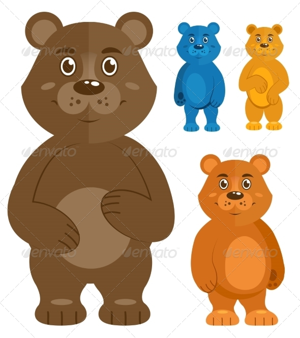 Decorative Teddybears Icons Set - Animals Characters