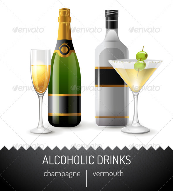 Alcoholic Drinks - Objects Vectors
