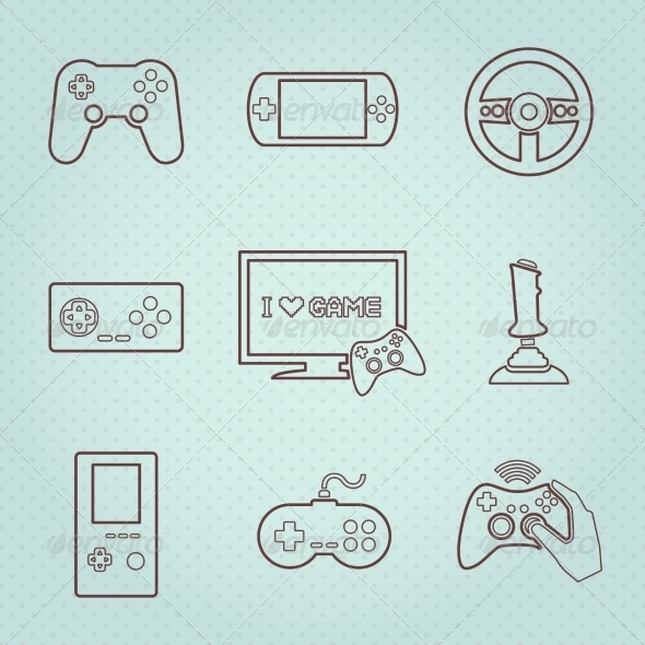 Video Games Controller Icons Set - Technology Icons