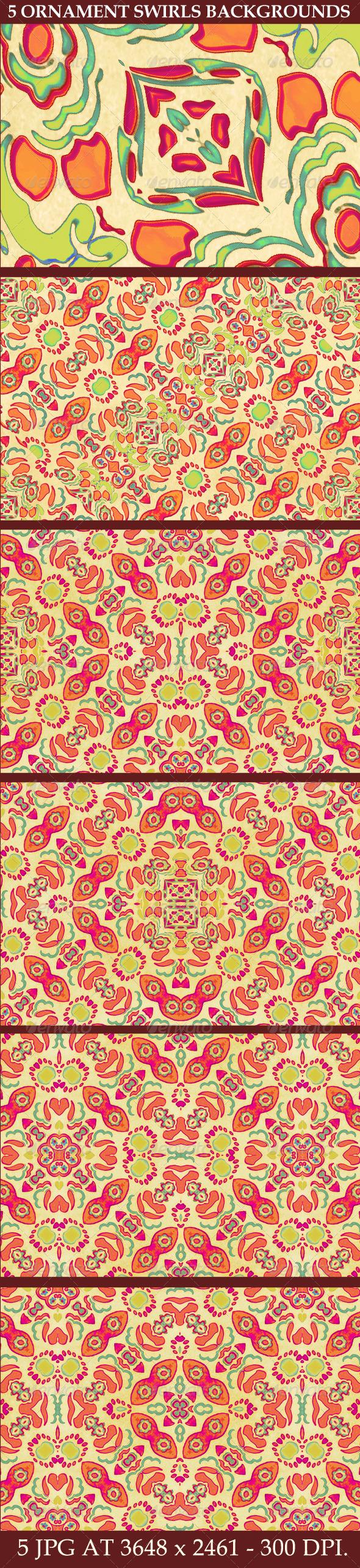 5 Multicolored Ornament Swirls Backgrounds - Flourishes / Swirls Decorative