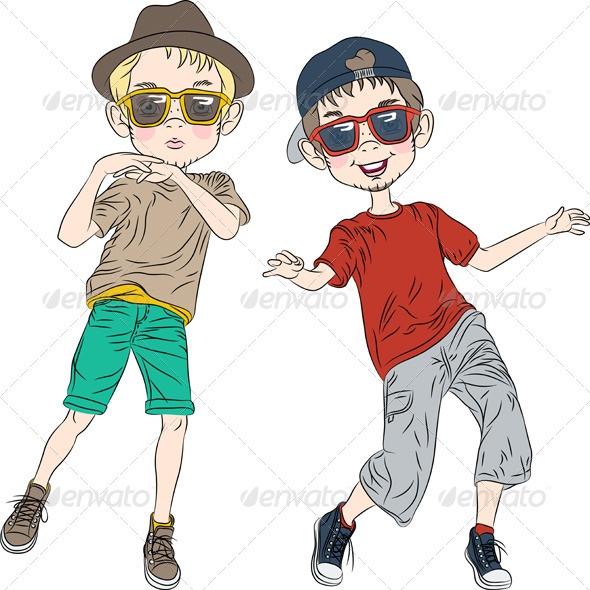 Hipster Boys Dancing - People Characters