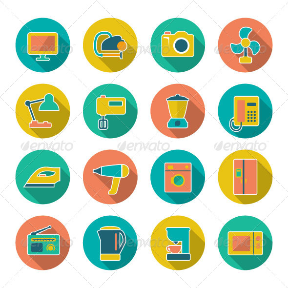 Set Flat Icons of Home Technics and Appliances - Man-made objects Objects