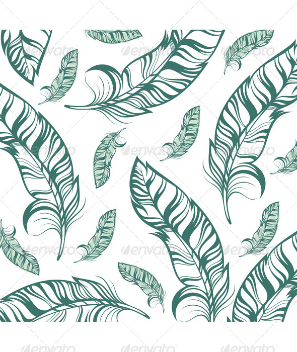 Seamless Pattern with Feathers - Backgrounds Decorative