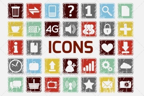 Grunge Icons Set - Web Technology